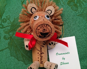 Wine Cork Lion Ornament