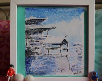 Totoro Snowy Golden Pavilion Kyoto, original watercolor print