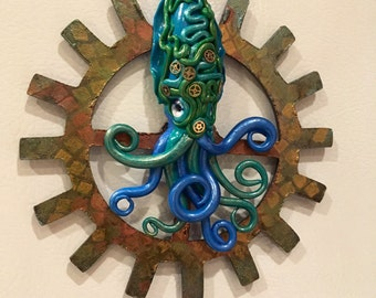 Squid, Sculpture, Creature Design, Polymer Clay Sculpture, Polymer Clay, Steampunk, Steampunk Magnet, Cephalapod, Cthulhu