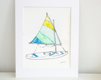 Sailboat Watercolor - Sunfish