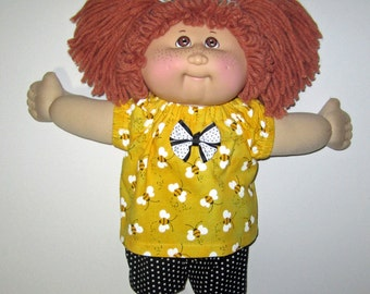 Cabbage Patch Kids, Doll Clothes, Spring Bee Top and Short,  15  16 inch Doll Clothes, Fits Vintage and Classic Cabbage Patch