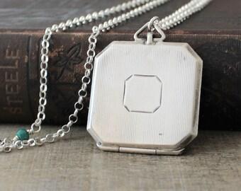 Art Deco Locket, Sterling Silver Locket Necklace, Square Locket, Large Locket, Personalized Locket, Long Locket, Push Present Photo Locket