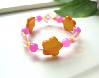 Pink and Orange Beaded Bracelet with Flowers, Small Girls Bracelet, GBS 135