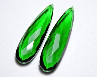 2 Pcs Very Beautiful Green Quartz Faceted Long Pear Shaped Loose Gemstone Beads Size 45X13 MM