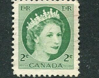Queen Elizabeth II Stamps/ Vintage Used Green Stamps From Canada /Bulk Green Stamps/ Used Green Stamps