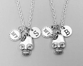 Best friend necklace, sugar skull neckalce, personalized necklace, bff necklace, sugar skull charm necklace, initial necklaces, monogram