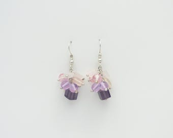 Pink, Purple and lilac earrings