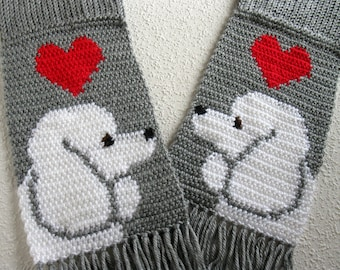 Knitted Poodle Scarf. Gray knit and crochet scarf with white poodle dogs and red hearts. Knit poodle gift.