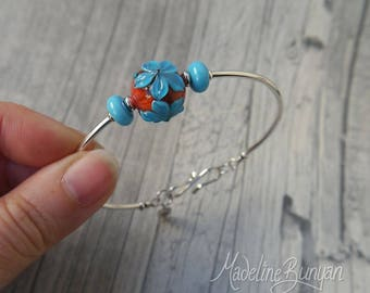 Orange and Turquoise flower, lampwork bead, sterling silver, simple bangle bracelet, turquoise flower