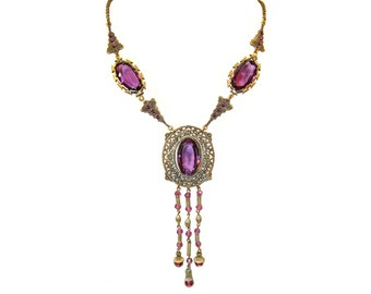 Art Deco Necklace, Amethyst Czech Glass Necklace, Vintage 1910-1920s