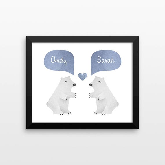 POLAR BEAR Couple Wall Art Print Decor Personalized Wedding Gift for Couple Engagement Gift Idea Anniversary Gift for Wife Husband Her Him