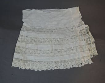 Vintage 1900s Petticoat Remnant, Antique Slip, Lots of Lace, As Is, Cutter Edwardian Scraps