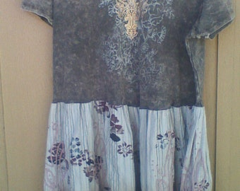 Upcycled T-shirt, Tunic, Dress, Chic, Country Lagenlook Size 1X