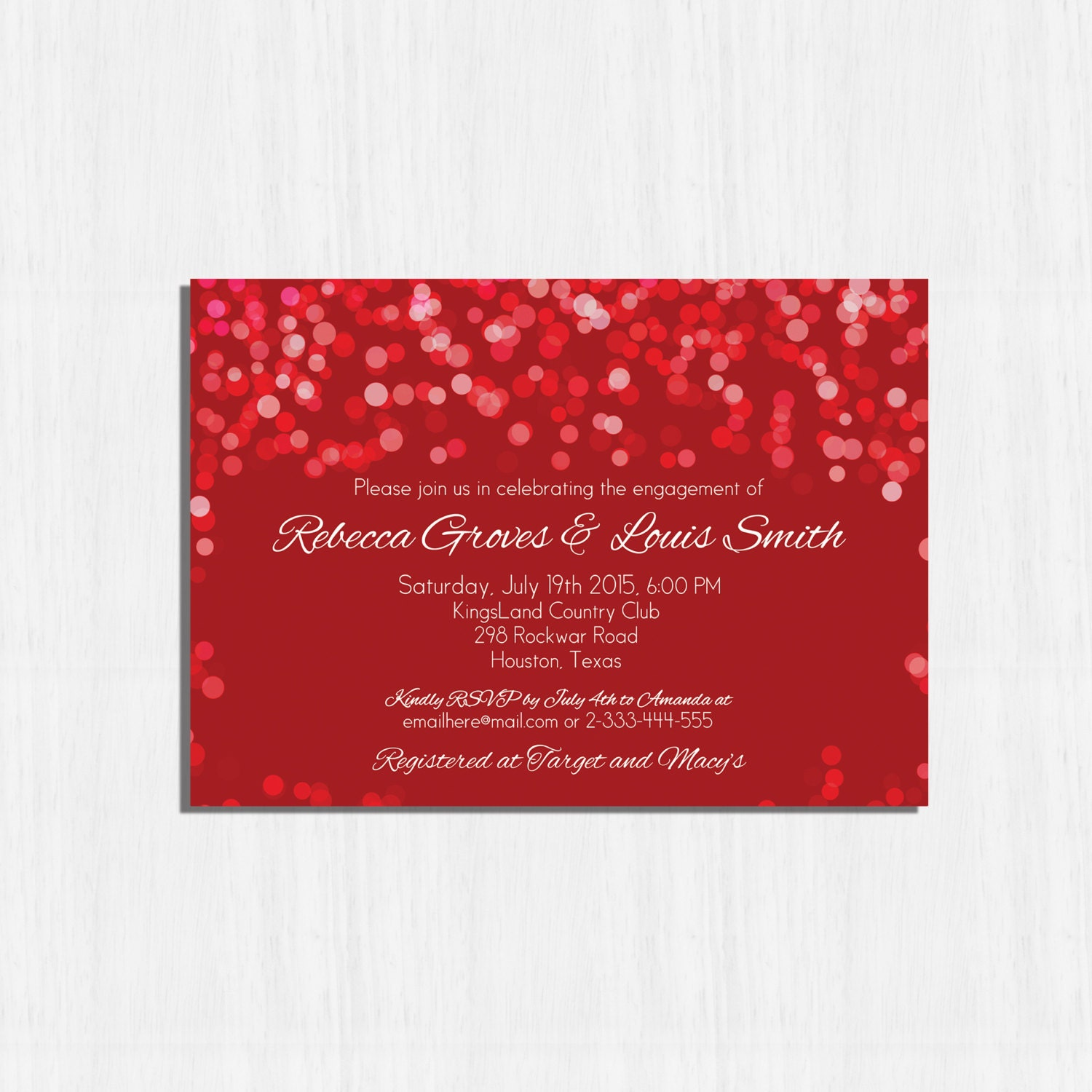 Red Engagement Party Invitation Printable Red bokeh