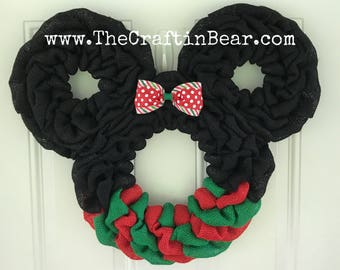 Christmas Minnie Mouse wreath - Burlap wreath - Santa Minnie - disney - Christmas wreath - Christmas Mickey - Christmas Mickey Decor