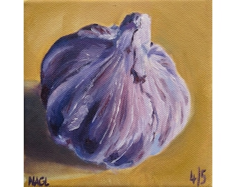 Garlic Bulb (May 2014) original oil painting still life on box canvas