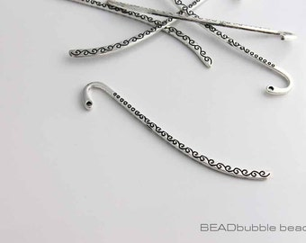 86mm Metal Bookmark Blank for Beads Silver Tone Swirl Pattern Pack of 5