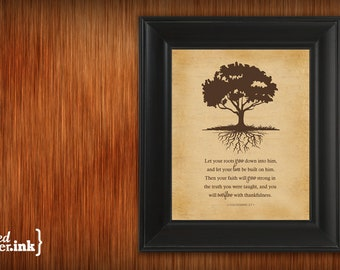 Wall Art - Roots Print (old canvas textured background with chocolate brown text) Colossians 2:7 - 5 x 7 Print