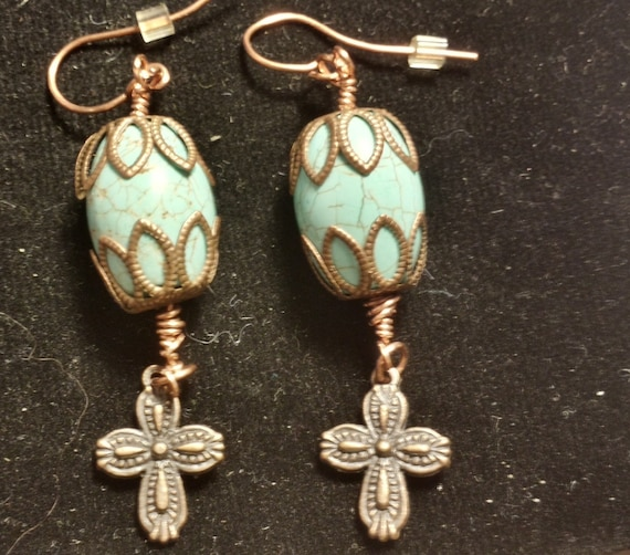 Turquoise and Copper Cross Earrings