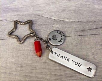 Gift for teacher, teacher keyring, teacher gifts, personalised teacher, end of year gift, thank you keyring, teacher appreciation
