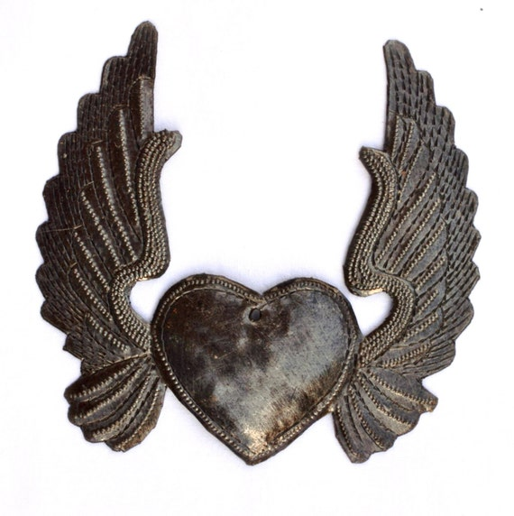 Metal Heart with Wings, Mother's Day, Recycled Steel Art made in Haiti, Hand Cut in Haiti