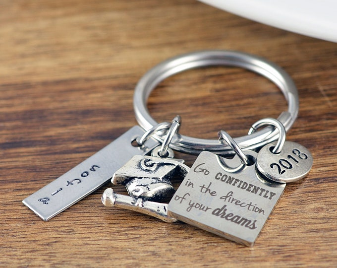 Go confidently keychain, Graduation Gift, Inspirational Keychain, Graduation Keychain, Class of 2018, Grad, College, High school, Diploma