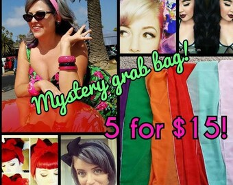 SALE Mystery Grab Bag 5 Chiffon Hair Scarves for 15 bucks vintage Style Headwrap Bow 1950s Rockabilly Pin Up
