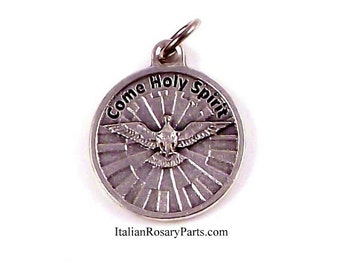 Holy Spirit Religious Medal With Prayer | Italian Rosary Parts