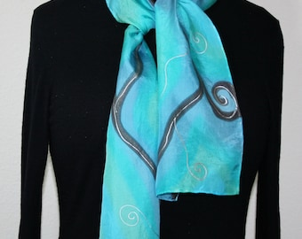 Silk Scarf Handpainted. Turquoise, Teal Hand Painted Silk Shawl. Handmade Silk Scarf COOL BLISS. Size 8x54. Birthday, Bridesmaid Gift.
