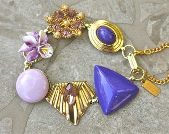 Vintage Earring Bracelet, Bridesmaid Gift, Upcycled, Charm, Rhinestones, Violet, Purple, Plum, Mod, Jennifer Jones, Under 40, OOAK - Iris