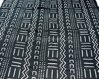 Hand crafted Mali cloth , African mudcloth , Mudcloth fabric , Handcrafted , African cloth , Black and White ,  MC163