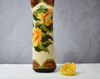 Jonathan - Floral cat craft doll pillow - yellow roses - from reclaimed vintage cross stitch pillow case - botanical art doll