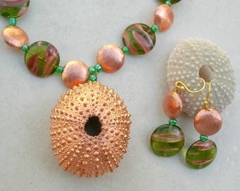 Gorgeous Copper-Plated Sea Urchin, Florentined Copper Beads, Copper & Green Czech Glass Beads, The Copper Collection, by SandraDesigns