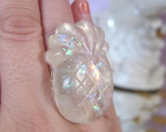 Rainbow Glitter Pineapple Fruit Epoxy Resin Ring Kawaii Jewelry Candy Jewelry