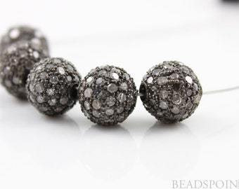 Pave Beads, Pave Diamond Beads, Pave Round Beads, Pave Findings, Metal Beads, Jewlery Component, Oxidized Silver. (DF/BA12