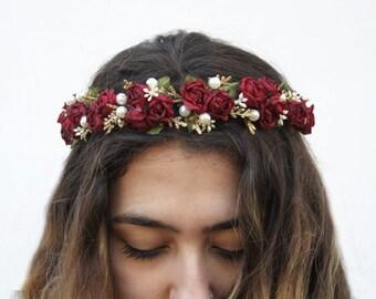 Burgundy Red Rose and Pearl Flower Crown, Winter Wedding, Red Flower Crown, Floral Crown, Bridal, Rose Headband, Rose Crown, Valentines Day