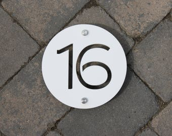 Modern House Number Door Sign 175mm x 5mm Original and Unique plaque Bespoke Laser Cut Design