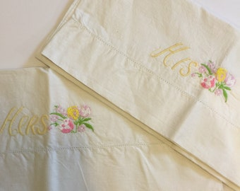 Vintage Hand Embroidered His & Hers Floral White Pillowcases