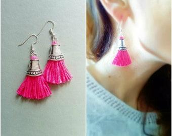 Neon pink tassel earrings