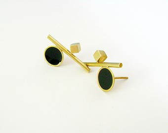 Brass Statement Earrings-Brass Modern Earrings-Resin Earrings-Gold Statement Earrings-Gold Stud-Brass Resin Earrings-Geometric Earrings