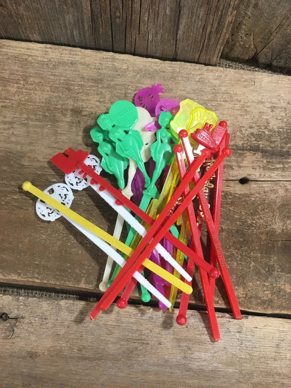 vintage swizzle sticks, 24 vintage swizzle sticks, Barksdale AFB swizzle sticks, rare swizzle sticks, vintage stir sticks, vintage barware