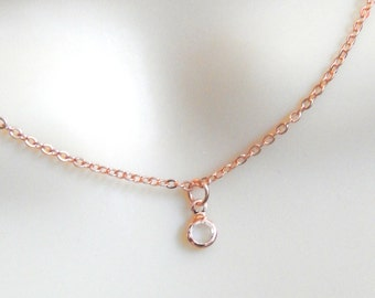 Rose Gold Crystal Solitaire Necklace, Layering Necklace, Dainty Jewelry, Minimalist Necklace
