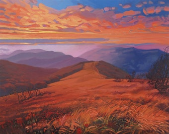 Early Autumn Mountain Meadows. Sunset. Atmospheric Landscape. Distance View. Oil on Canvas