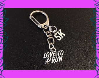 5 K run gift, gift for runner, run race prize, love to run charm keychain, 5 k run charm key ring, fitness gift UK