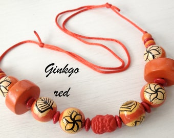 Necklace long orange, red, hand painted wooden beads Golden Ginkgo Red