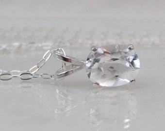 White Topaz Necklace in Sterling Silver, April Birthstone Gift, Diamond Alternative, Natural Topaz Jewelry, 9x7mm Topaz Pendant