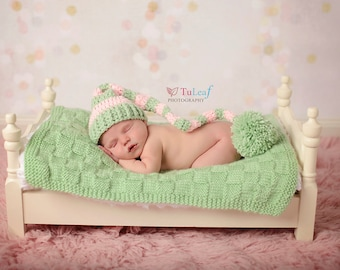 Newborn Elf Hat, Newborn Stocking Hat, Newborn Photo Prop, Girl Photo Prop, Striped Hat, Pink Green Hat, Infant Pom Pom Hat,Crochet Baby Hat