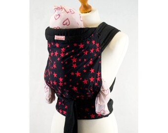 Palm and Pond Mei Tai Baby Carrier - Black with Red Stars