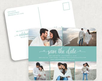 Blue Save the Date Postcards, Photo Save the Date Postcards, Printed Save the Date Postcards, Printable Save the Date Postcards, DIY, PDF