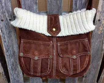 Vintage Brown Corduroy Shoulder Bag Handbag Purse